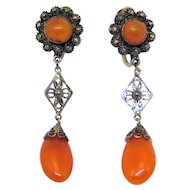 Antique Chinese Filigree Carnelian Drop Earrings Original Box