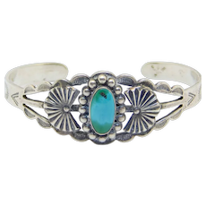 Turquoise And Silver Stampwork Cuff Bracelet Harvey Era