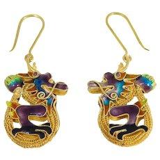 Chinese Cloisonne Enamel Silver Dragon Earrings Filigree