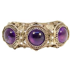 Old Ornate Chinese Silver Cabochon Amethysts Ring Butterflies