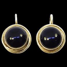 Vintage Leverback Black Onyx Vermeil Earrings