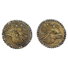 Pair Huge Victorian Steel Cut Relief Bird Buttons Fabulous