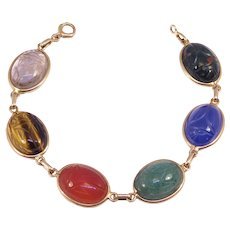 14k Retro Carved Scarab Bracelet Vintage Natural Stones