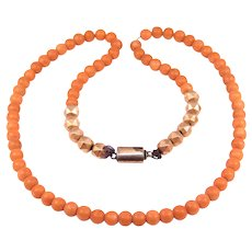 Victorian Coral Beads Necklace With Rose Gold Beads