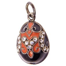 Russian Silver Enamel Egg With Crystals Pendant Charm