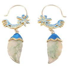 Chinese Silver Cloisonne Enamel Carved Jade Earrings