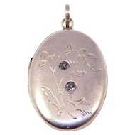 Antique Silver Engraved Hallmarked Locket With Paste