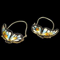 Beautiful Cloisonne Enamel Silver Butterfly Hoop Earrings