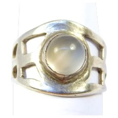 Arts And Crafts Sterling Moonstone Ring Unique