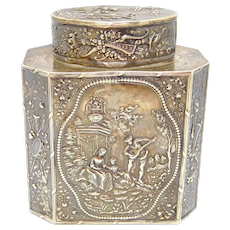 Gorgeous Victorian Sterling Figural Repousse Tea Caddy Box