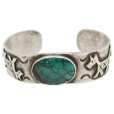 Gorgeous Silver Turquoise Snake Cuff Navajo Design