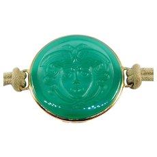 18k Medusa Chrysoprase Agate Cameo Bracelet Italian Designer