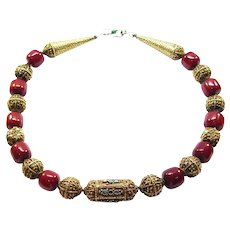 Ornate Ethnic Silver Beads Necklace Faturan Beads And Turquoise