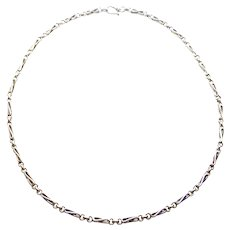 Heavy Sterling Ornate Modernist Fancy 24 Inch Link Chain Necklace