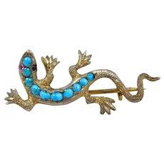 Victorian Persian Turquoise Gilt Lizard Salamander Brooch