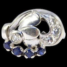 14k Art Deco Retro Diamond Cluster Ring Beautiful