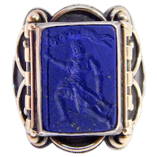 European Lapis Intaglio Cameo Ring Mixed Metals Gold And Silver