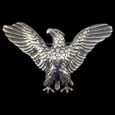 Huge Sterling Eagle Brooch Vintage Spread Wings Detailed