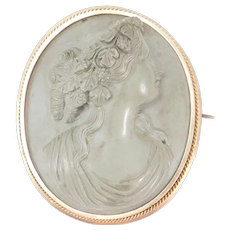 Victorian High Relief Gold Lava Cameo Brooch Fabulous Example 1860