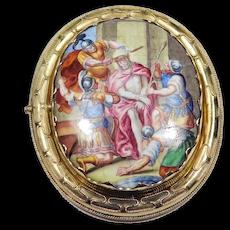 14k Victorian Vienna Enamel On Metal Portrait Brooch
