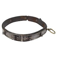 Victorian French Silver On Leather Engraved Dog Collar
