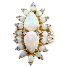 Estate Opal And Diamond Cluster Ring 14k Great Colors