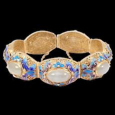 Silver Filigree Chinese Icy Jade And Butterflies Bracelet Enamel