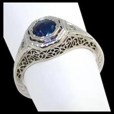 Antique Filigree Sapphire Diamonds Ring Engagement Ring Appraisal
