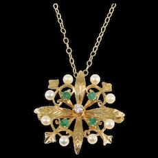 14k Estate Emeralds Diamond Pearls Cluster Pendant Brooch