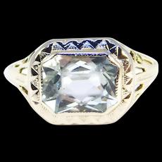 Art Deco 14k Filigree Aquamarine Ring Beautiful 2 Carats