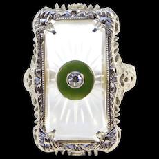 Art Deco 14k Camphor Glass Filigree Diamond Chrysoprase Ring