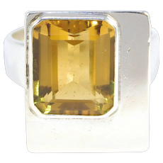 Mid Century Modern Sterling Citrine Ring By Macdonald