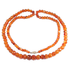 Long Strand Antique Faceted Carnelian Agate Beads