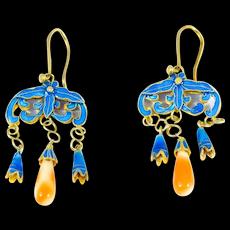 Chinese Silver Vermeil Coral Enamel Drop Filigree Earrings