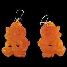 Carved Carnelian Fu Dog Earrings Ornate Chinese Carvings