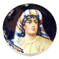 Gorgeous Enamel Portrait Brooch On 900 Silver As Is