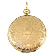Oversized Engraved Ornate Victorian Gold Filled Locket