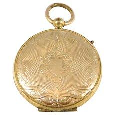 Victorian Gold Filled Engraved Locket Pendant