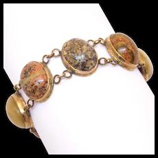 Antique Agate Specimen Bracelet 10k Gold Clasp