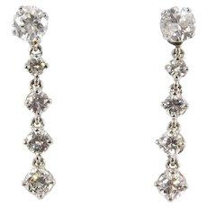 Estate Fine 14k Diamond 1 Carat Drop Earrings Day And Night