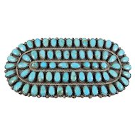 Navajo Petit Point Turquoise Silver Barrette By Begay