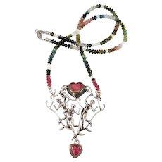 Beautiful Artisan Figural Silver Tourmaline Necklace