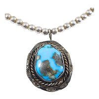 Turquoise Silver Stampwork Pendant Small Silver Beads Necklace