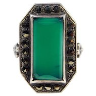 Art Deco Sterling Marcasite Chrysoprase Ring