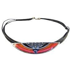 Danish Modernist Enamel Embla 925s Silver Necklace
