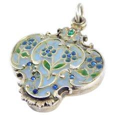 Art Nouveau Plique A Jour Enamel Slip Locket Sterling C. 1900
