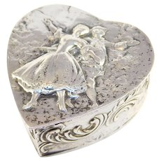 Antique Germany 800 Silver Figural Heart Shaped Box