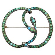 Rare Victorian Double Snake Serpent Persian Turquoise Brooch C. 1880