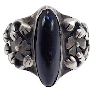 Gorgeous Arts & Crafts Floral And Onyx Ornate Ring C. 1910