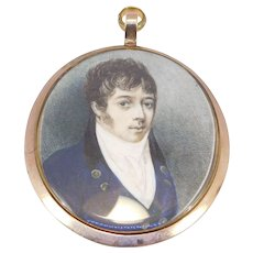 Early Victorian Hand Painted Miniature Distinguished Gentleman C. 1840